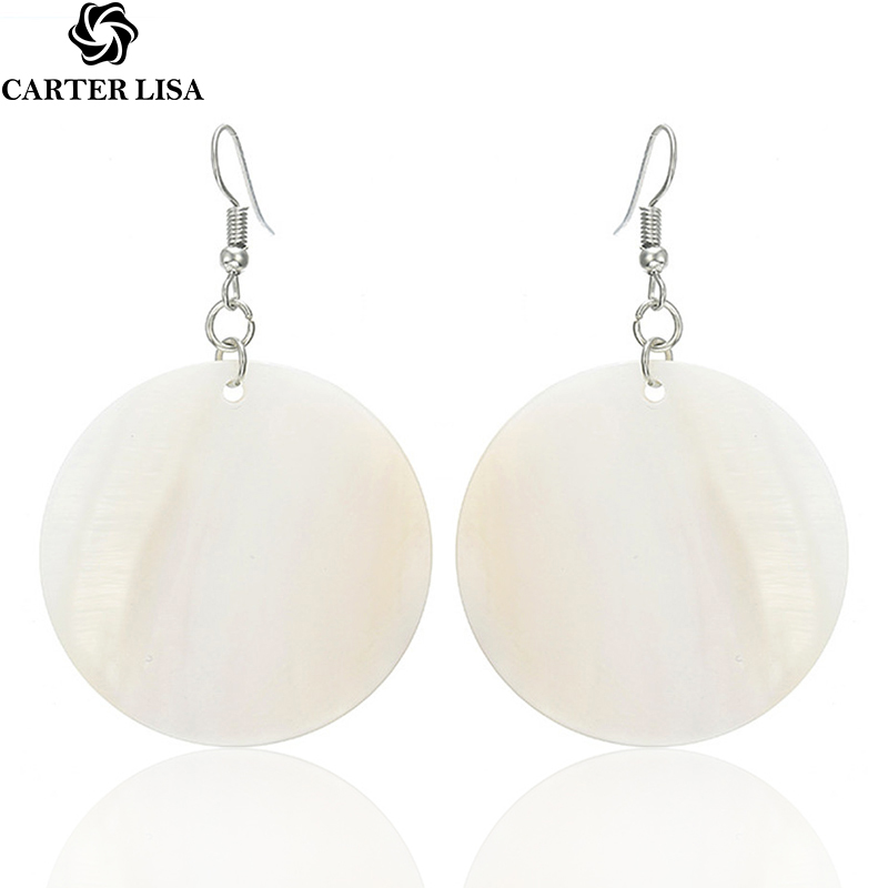 CARTER LISA Natural White Round Dangle Earring For Women Trendy Geometric Shell Drop Earrings Minimalist Jewelry HLEZ61000