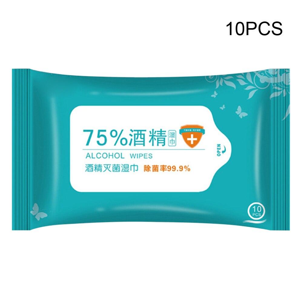 10pcs/Bag 75% Ethanol Alcohol Sterilized Wet Paper Towels Portable Antivirus Disinfection Alcohol Wipes