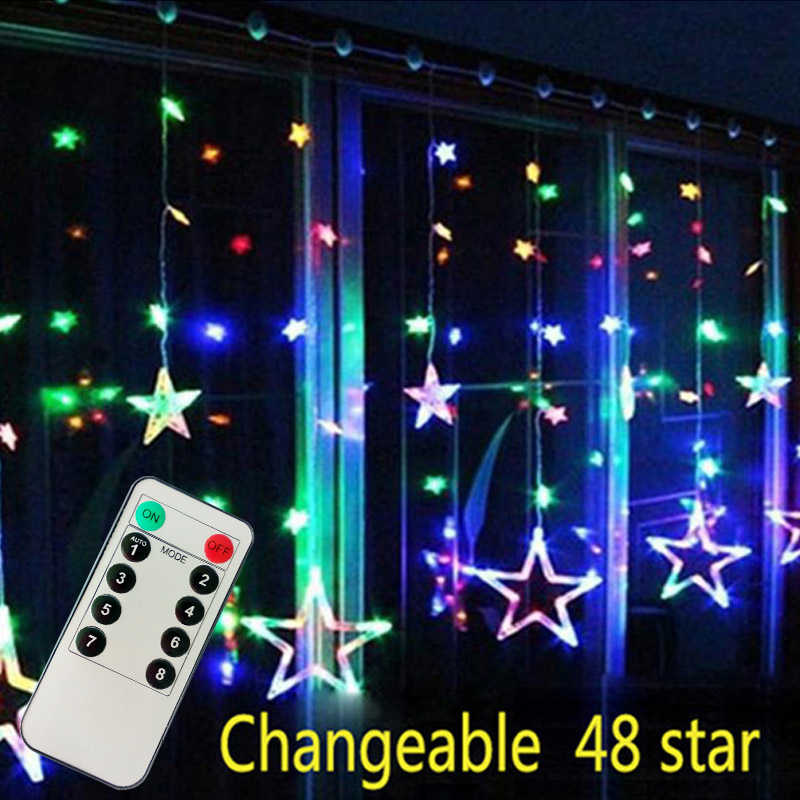 4M Đèn Giáng Sinh AC 220V Có Remote Lãng Mạn Cổ Tích Ngôi Sao LED Màn Dây Cho Ngày Lễ Cưới Garland Đảng trang Trí
