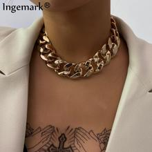 Ingemark Punk Unique Curb Cuban Chain Necklace for Women Fashion Statement Steampunk Big Chunky Lock Choker Necklace Men Jewelry