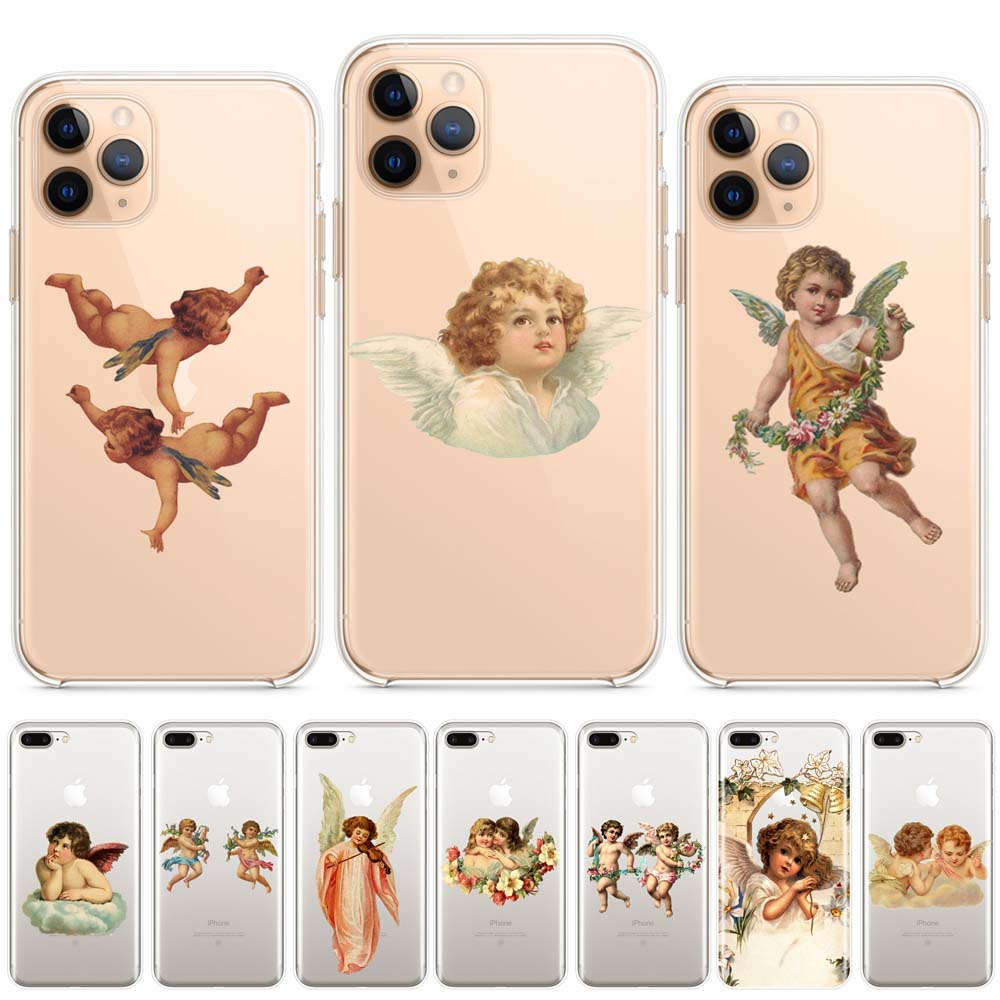 Baby Angel Painting Aesthetic Art Soft Silicone Phone Case Coque For Iphone 11 Pro Max 7 8 6 6S Plus X Xs Xr Max 5 5S Back Cover