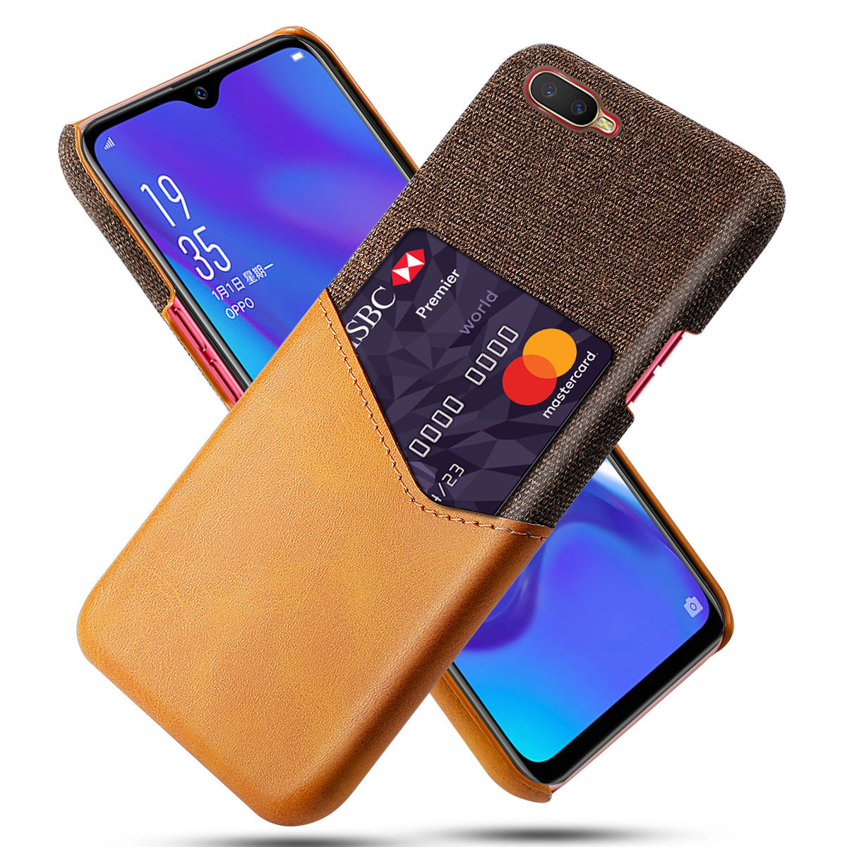 DCK Leather Hard Cloth Card Phone <font><b>Cases</b></font> for <font><b>OPPO</b></font> K1 AX5S AX7 Pro AX7Pro <font><b>Find</b></font> X X2 Neo <font><b>7</b></font> Slim Hybrid Hard Platic Phone Cover image