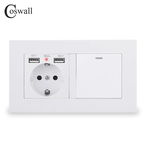 COSWALL EU Standard Wall Socket Grounded With 2 USB Charge Port Hidden Soft LED + 1 Gang 1 Way On / Off Light Switch PC Panel()
