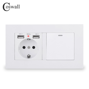 COSWALL EU Standard Wall Socket Grounded With 2 USB Charge Port Hidden Soft LED + 1 Gang 1 Way On / Off Light Switch PC Panel