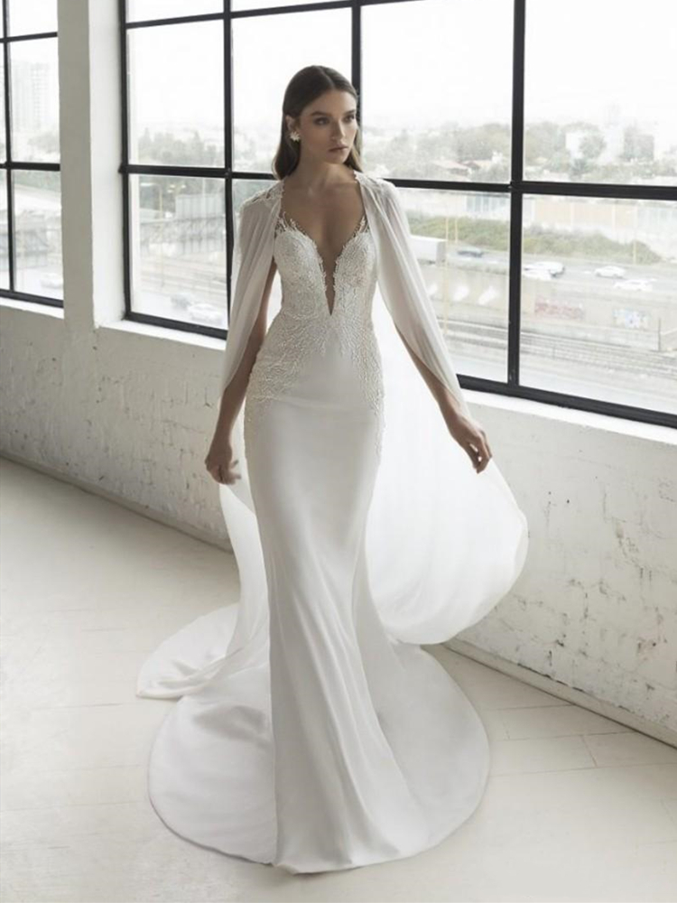 2020 Modern Mermaid Wedding Dress With Cape Chiffon Wrap Sparkly Lace Trumpet Chic Bridal Gowns Vestido De Noiva Custom Made