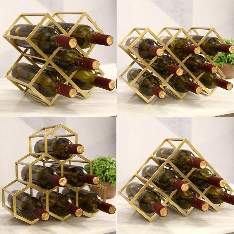 Simple Diamond Wine Rack Display Retro Design Wine Cabinet Metal Lattice Customized Red Wine Rack Creative Wine Cabinet