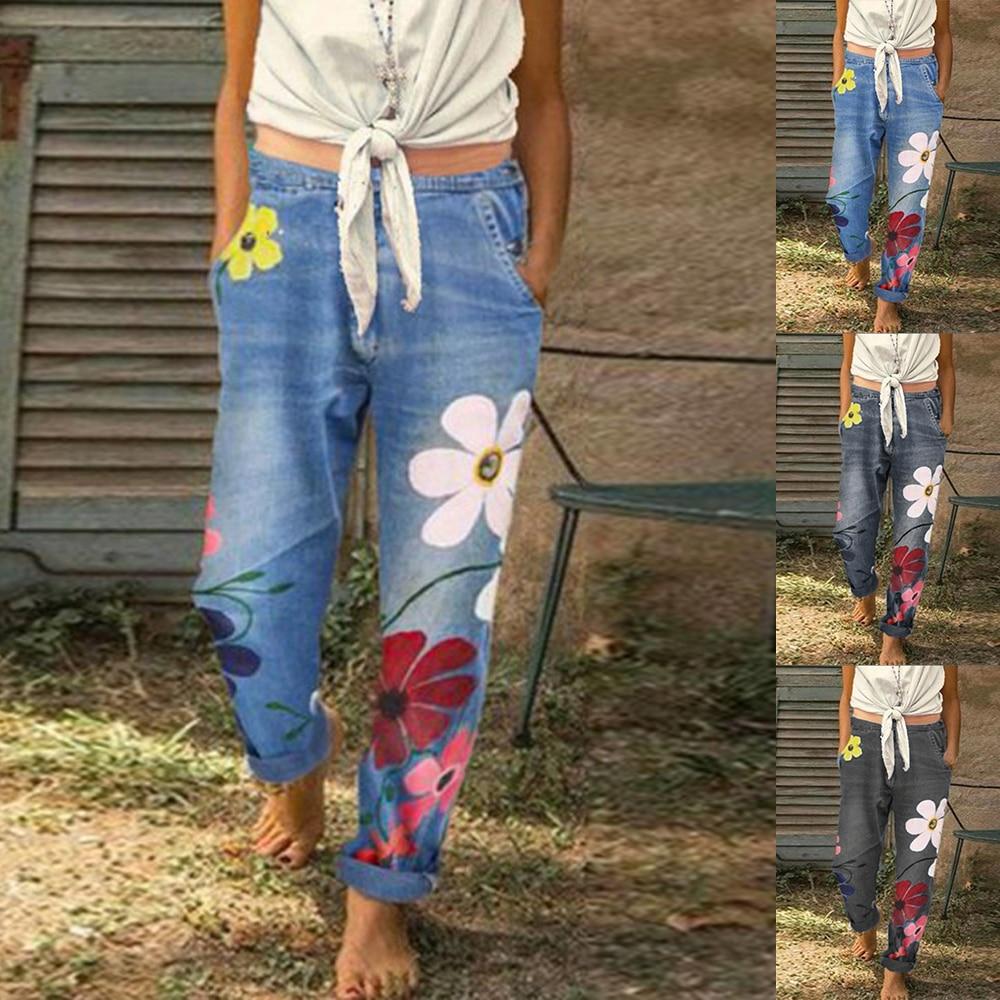 2020 Women Jeans Pants New Women Long Trousers Spring Floral Print Denim Jeans Ladies Casual Loose Plus Size High Waist Pants
