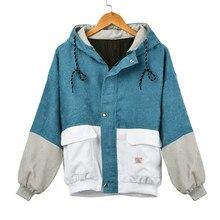 цена на 2019 Women jacket Long Sleeve Corduroy Patchwork Thin Skinsuits Windbreaker Hooded Women's Jackets Coats chaquetas mujer