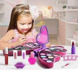 Crianças caixa de maquiagem conjunto brinquedos borboleta vestir cosméticos meninas brinquedo plástico segurança beleza fingir jogar crianças jogos de maquiagem presentes