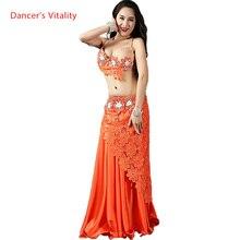 Kobiety taniec brzucha taniec brzucha taniec ubrania orientalne stroje taneczne biustonosz + koronkowa krótka spódnica + długa spódnica + kalesony 4 szt. Zestaw