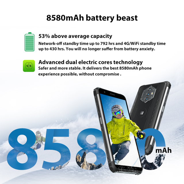 Blackview BV6600 IP68 Waterproof 8580mAh Rugged Smartphone 4GB+64GB 5.7'' Android 10.0 Octa Core 4G NFC Big Battery Mobile Phone 2