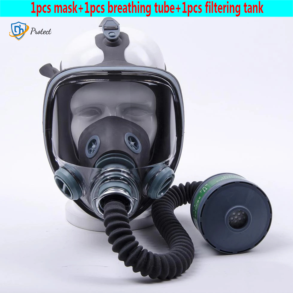Masque à gaz militaire, 3 interfaces, protection contre l'incendie, pesticide, produit chimique, anti-poison, pulvérisation industrielle, anti-poussière toxique