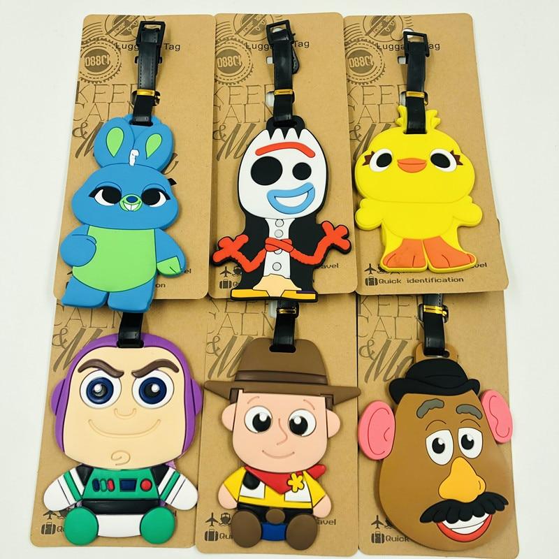 DISNEY Toy Story 4-etiquetas colgantes de PVC para equipaje, figuras de juguetes turísticos, Woody, Jessie, Forky, Bunny, Buzz Lightyear, oso de fresa