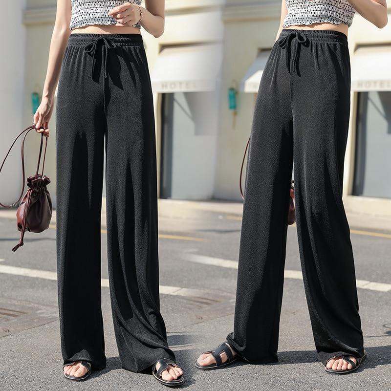 New Spring Summer Women Long Pants Ice-Silk Knitted Floor Length Pants Wide Leg Shake High Waist Loose Casual Pants Pantalones