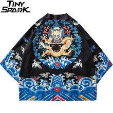 Kimono Jacket Dragon Harajuku Japanese Retro-Style Thin Men Streetwear Summer Hip-Hop