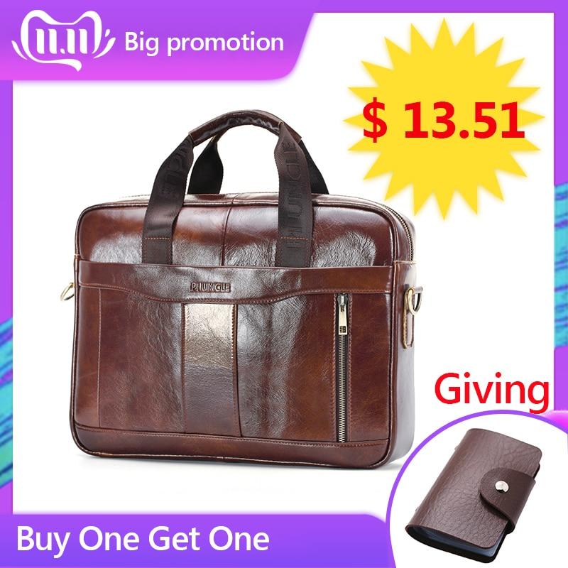 Genuine Leather Briefcase Male Man Laptop Bag Natural Leather For Messenger Bag Laptop Shoulder Crossbody Bag Office Handbag