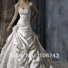 free shipping 2020 New Custom made vestido de noiva Lace A-Line Strapless beaded trim Bridal Gown