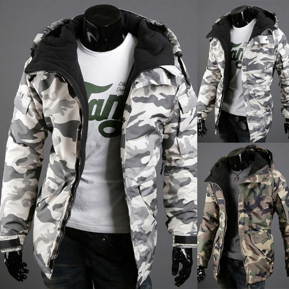 Fashion Winter Warm Men Jacket Coat Thicken  Camouflage Print Pocket Jacket Zipper Long Sleeve Coat For Men's Clothing