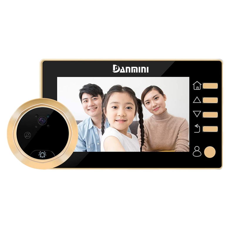 Danmini Video Doorbell Peephole With Camera,  4.3 Inch Hd Digital Display, Zinc Alloy Material Cat Eyes Door Viewer,  300, 000 P