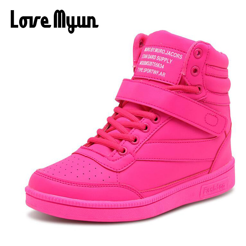 Woman Breathable High Top Black White Boots Shoes Women Casual Shoes Platform Hidden Increasing Sneakers Leather Shoes NN-50