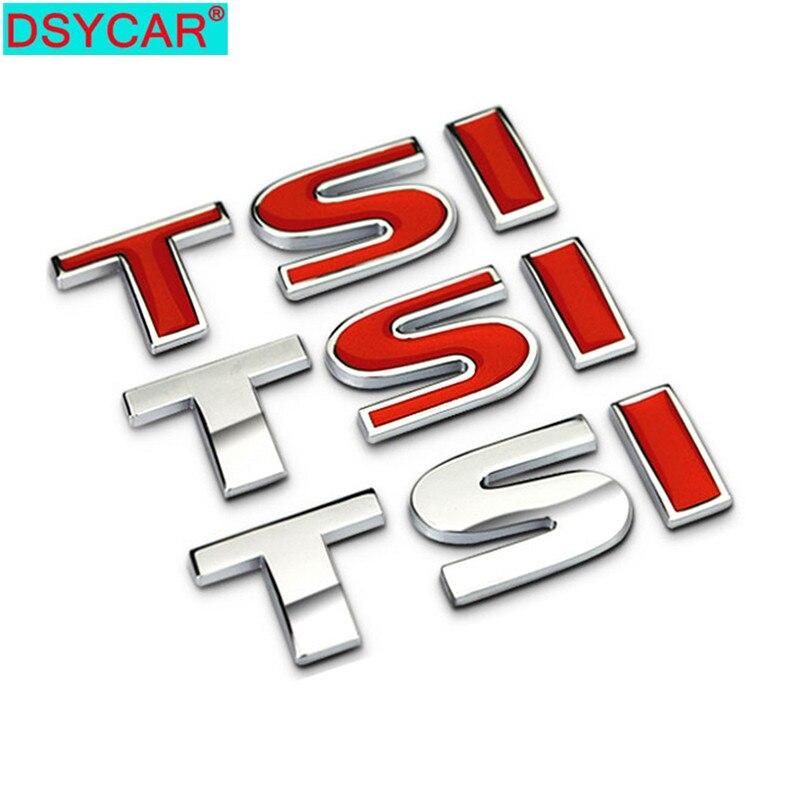 DSYCAR 1Pcs 3D Metal TSI Car Side Fender Rear Trunk Emblem Badge Decals For Volkswagen Sagitar Golf Magotan Polaris Boracay