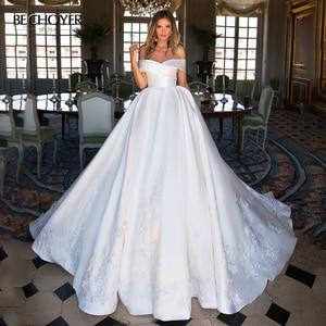 Image 1 - Sweetheart Off Shoulder Satin Wedding Dress Appliques A Line Court Train BECHOYER I193 Princess Bridal Gown Vestido de novia