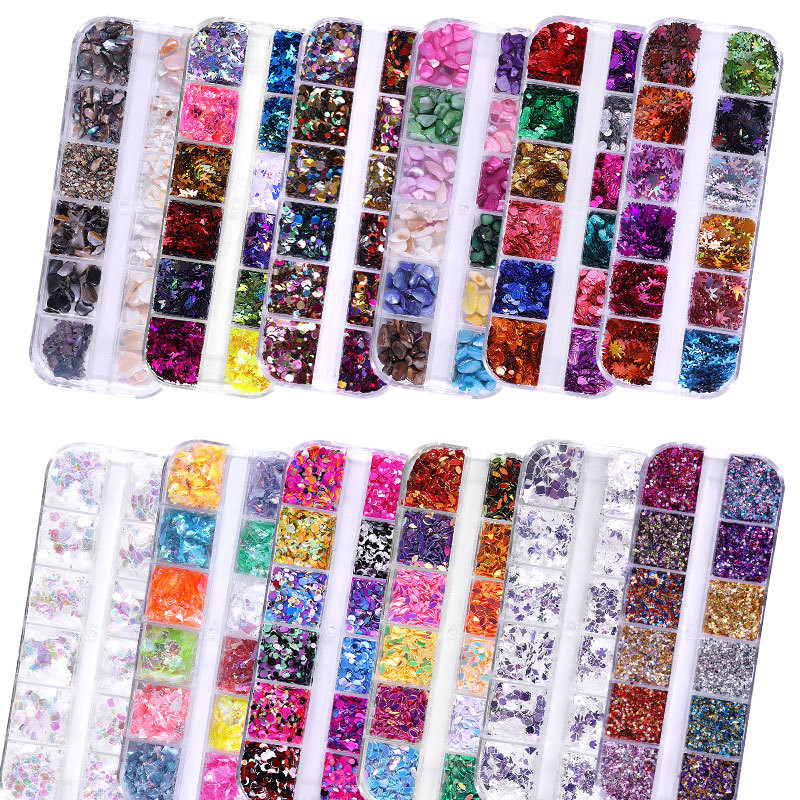 12 Grids/set 3D Rhinestones For Nails Art Decoration Mix Crystal Metal Nail Rivets Shiny Charm Strass Manicure Accessories Studs