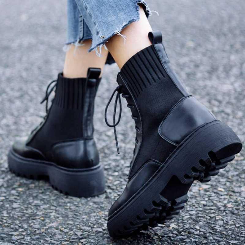 AIYUQI bahar kadın ayakkabı hakiki deri düz yarım çizmeler platformu çorap ayakkabı moda kadın ayakkabısı