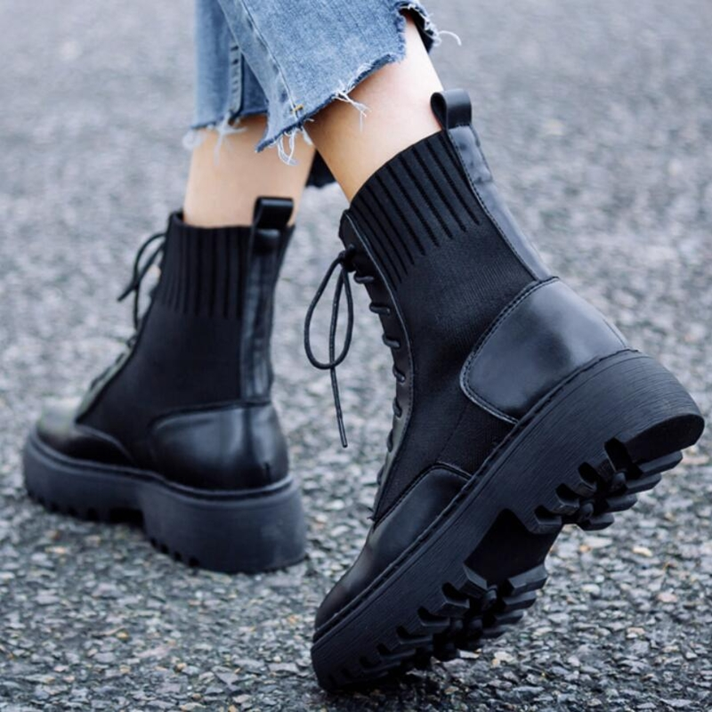 AIYUQI springtime Women shoes Genuine Leather Flat Ankle Boots Platform socks shoes fashion Women's shoes