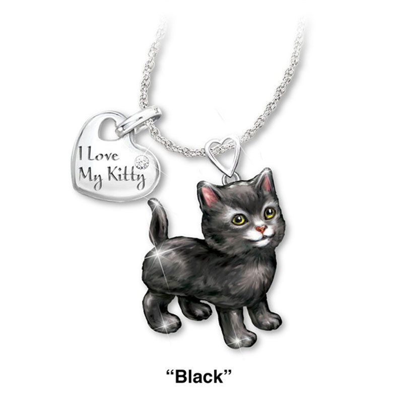 """""""I Love My Kitty"""" Cute Cat Jewelry Sets Cartoon Animal Necklace/Rings Jewelry Sets&More Statement Wedding Jewelry Gifts"""