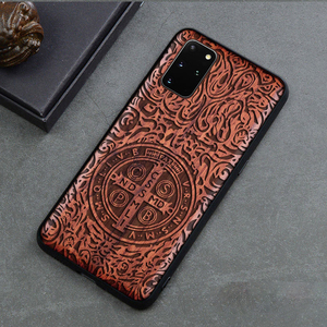 Image 1 - Solid Wood Carving Protective Cover for Samsung Galaxy S20 Ultra S10 Plus Note 20 Ultra 10 Plus 5G Case Embossed Wooden Funda