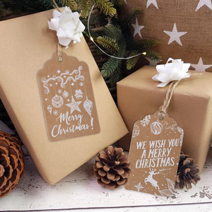 50pcs Merry Christmas Thank you Kraft Paper Tags Xmas tree Hanging Label Navidad new year Party Gift Card Decorations for Home