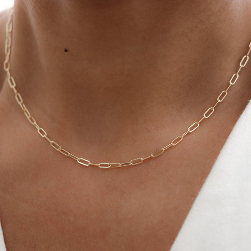 Women Jewelry Necklace Collares Boho-Chain Gold Choker Gold-Filled Handmade 14K for Kolye