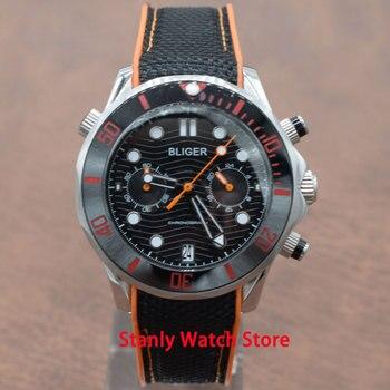 Marca de lujo de Bliger 41mm negro dial luminoso marcas de cristal de zafiro bisel de cerámica cronógrafo Función de movimiento de cuarzo de los hombres
