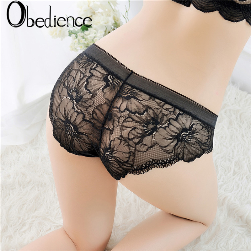 hot sell Seamless womens large size sexy transparent lace nylon crotch underpants 2019 new