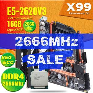 Atermiter X99 D4 Motherboard Set With Xeon E5 2620 V3 LGA2011-3 CPU 2pcs X 8GB =16GB 2666MHz DDR4 Memory REG ECC RAM