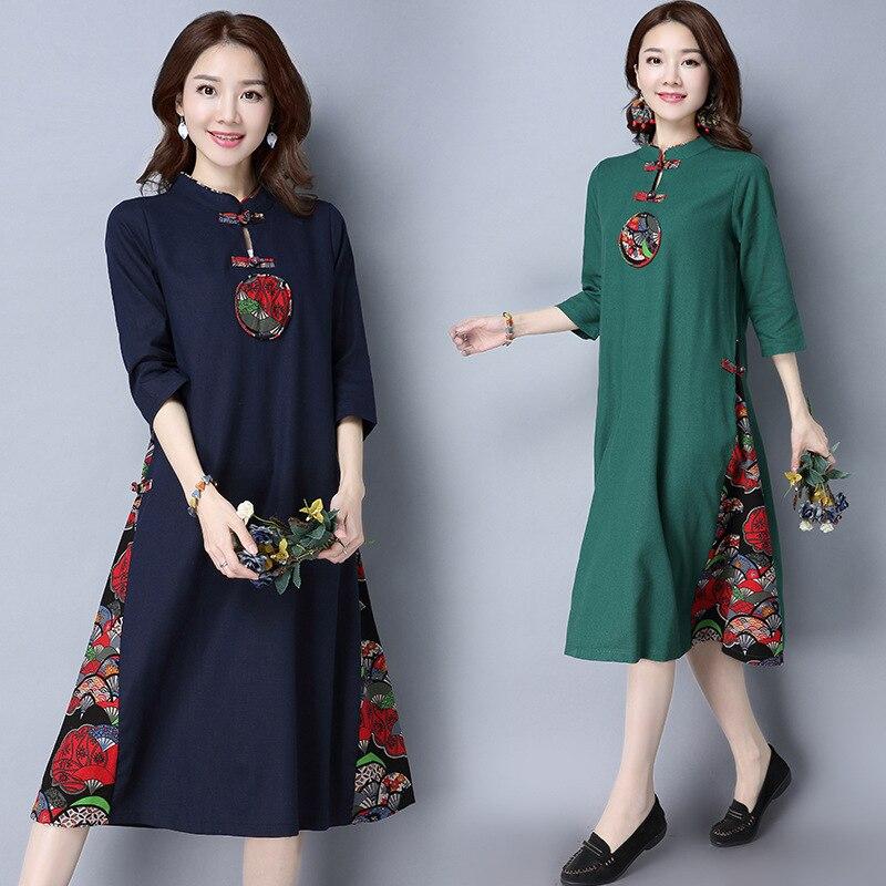 Photo Shoot 2019 Spring New Style Ethnic-Style Large Size Dress Cotton Linen Mid-length Dress Chinese-style Cheongsam Long Skirt