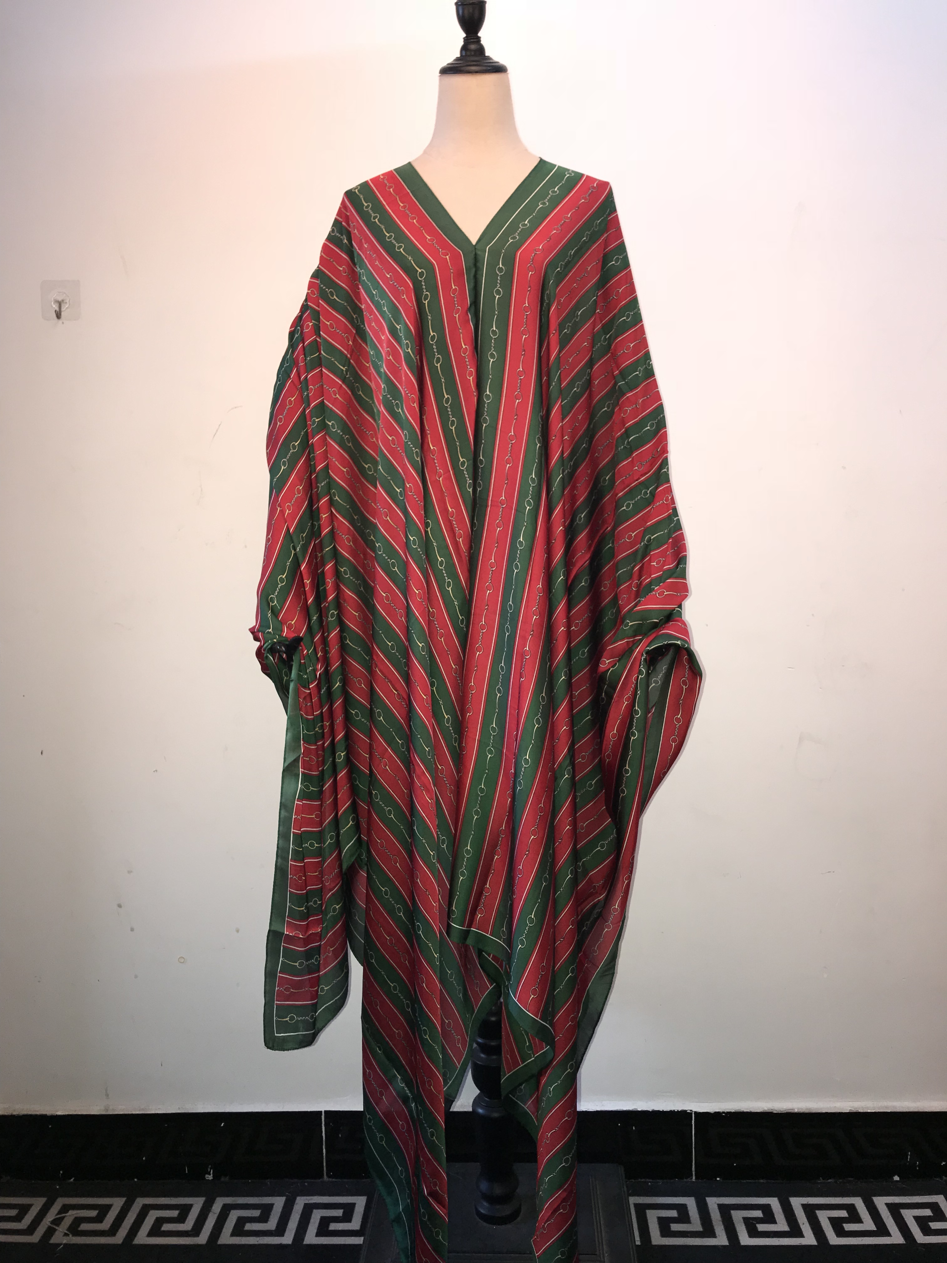 New Fashion V-neck Loose Style Silk Kaftan Long Dresses Middle East Evening Party Summer Silk Dress African Dress For Women