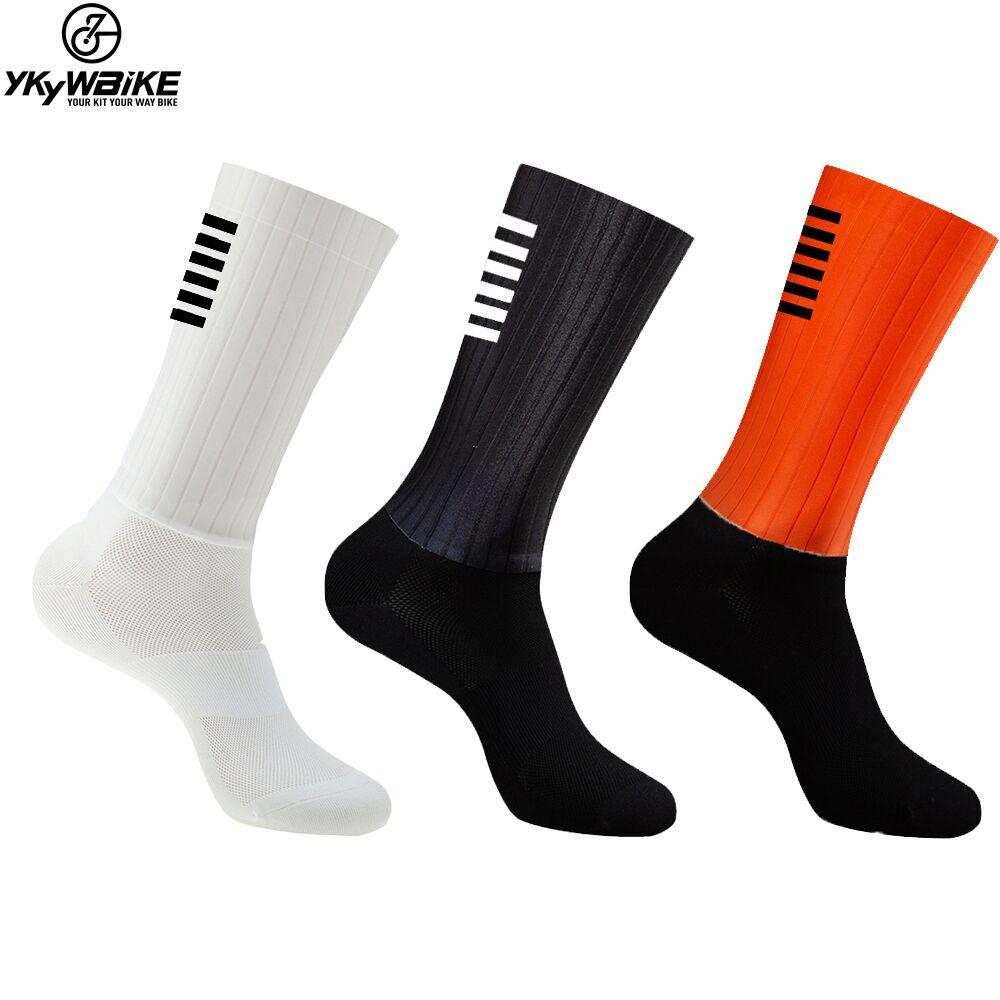 YKYWBIKE Anti Slip Silicone Aero Socks Whiteline Cycling Socks Men Bicycle Sport Running Bike Socks