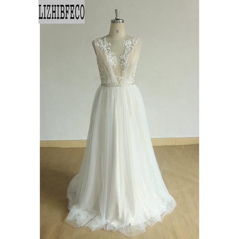 Ivory Lace Tulle Beading Belt Floor-Length A-line Wedding Dress Backless Chapel Train Custom Made