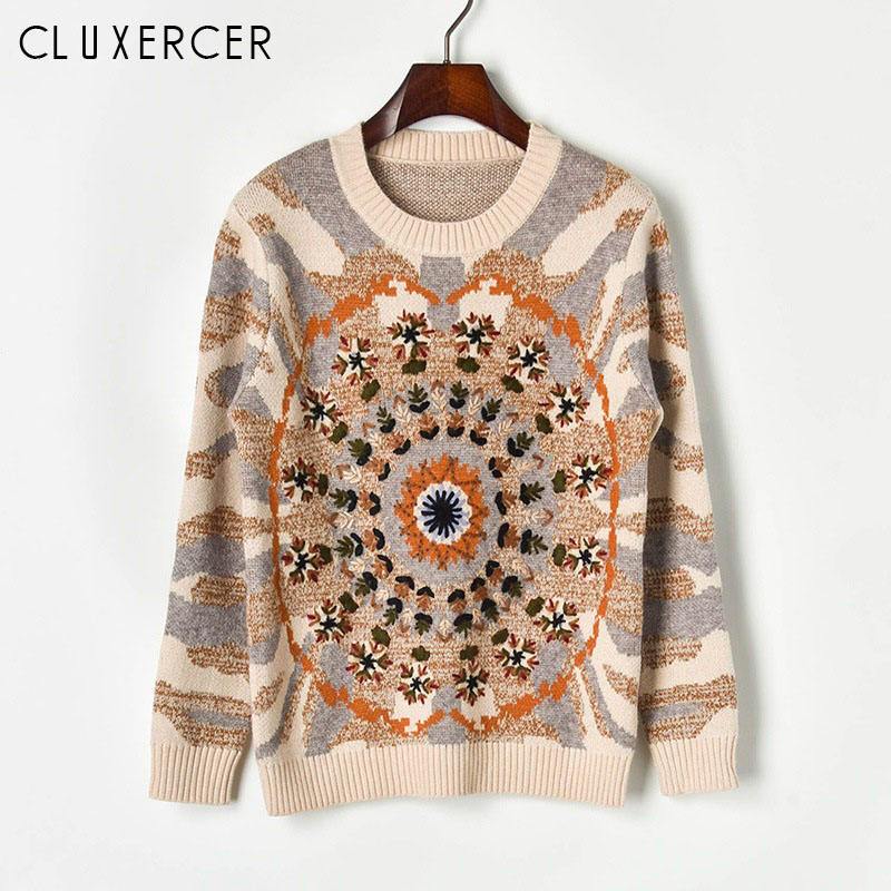 High Quality Hand Embroidery Autumn Winter Women's Sweater Luxury Runway Design Pullovers Intarsia Knitted Top