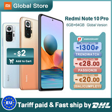 Versão global xiaomi redmi nota 10 pro 6gb 64gb celular snapdragon 732g 108mp câmera 120hz amoled display 33w