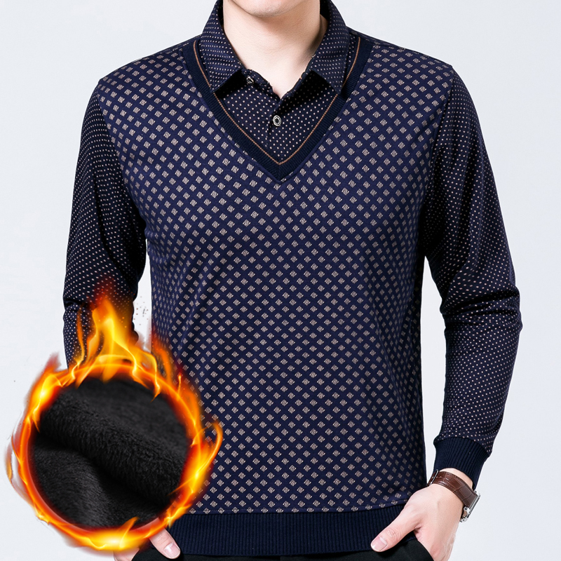 2019 Thick Argyle Polo Shirt Men Clothes Streetwear Fashions Long Sleeve Shirts Polos Mens Fake Two Pieces Jersey Poloshirt 2022