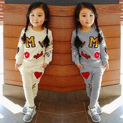 2020 primavera outono bebê menina conjuntos de roupas algodão coreano versão em torno do pescoço de manga comprida camisola calças 1 2 3 4 5 6 7 8 ano