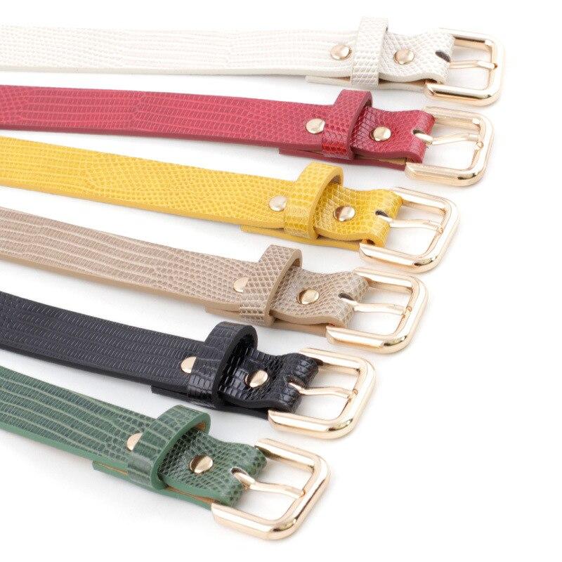 Luxury Women Belt Black Red Crocodile Snake Print Waist Belt Female Leather Narrow Thin Waistband Belt For Ladies Jeans Dress