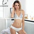 CINOON Frauen sexy unterwäsche bh stickerei dessous set dünne spitze bh transparent ultra-dünne versuchung push-up bh set