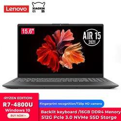 Original Lenovo Xiaoxin Air 15 2021 Laptop Ryzen Edition AMD Ryzen 7 4800U 16GB DDR4 512G PCIe SSD 15.6 Inch Notebook Windows 10