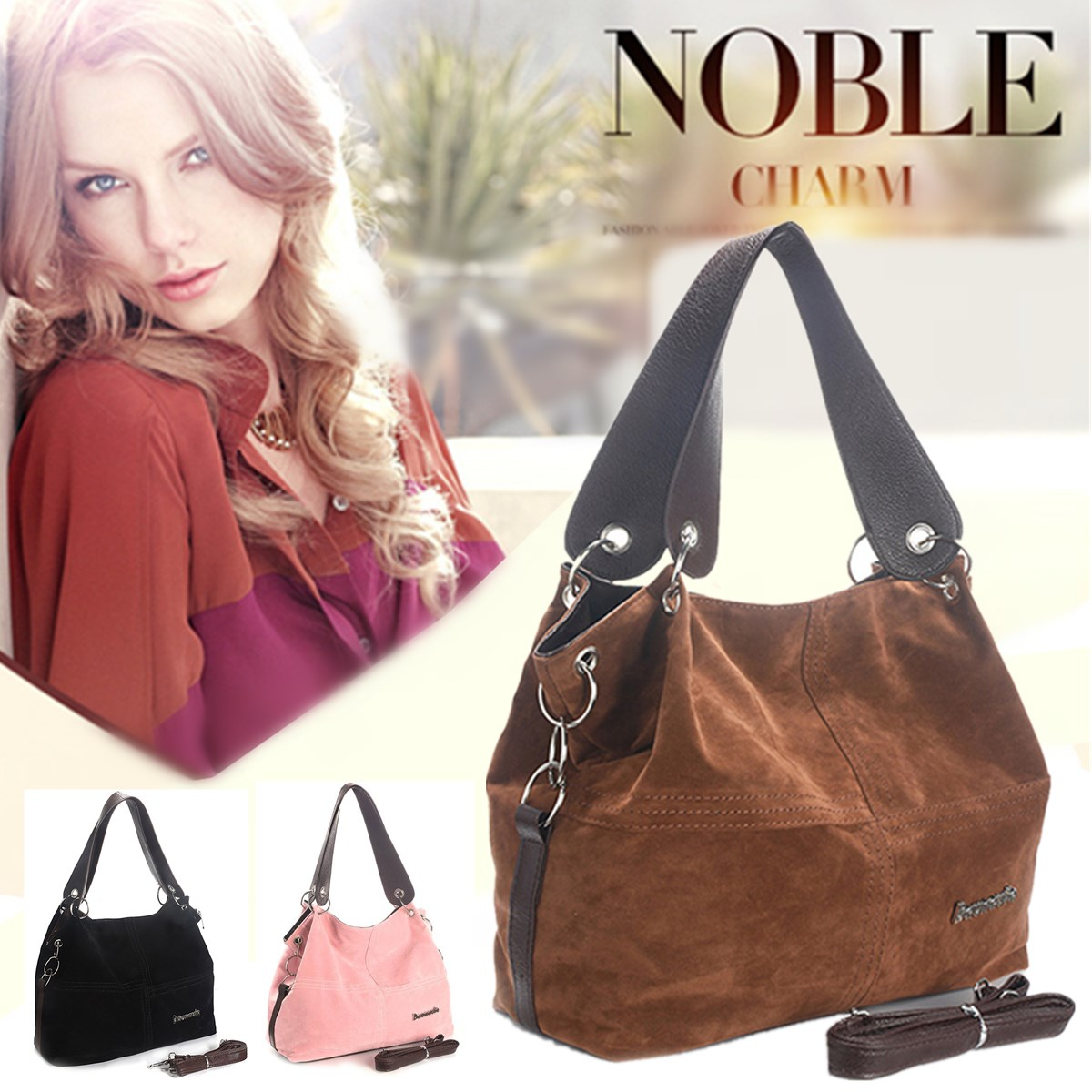 Vintage Women Handbag Female Suede Leather Bags Shoulder Bag Crossbody Bag Ladies Hobos Casual Tote Handbags Fashion