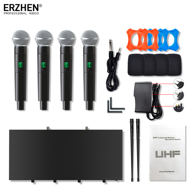 handheld microphone wireless systems UHF4 channel lapel condenser headset karaoke speaker studio for sale SM58 mic for singer