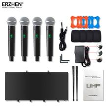 휴대용 마이크 무선 시스템 uhf4 채널 옷깃 콘덴서 헤드셋 가라오케 스피커 스튜디오 판매 sm58 mic for singer